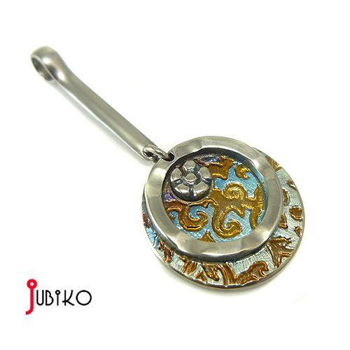 Wisiorek tytanowy-Błękit z miedzią / Jubiko / Biżuteria / Wisiory