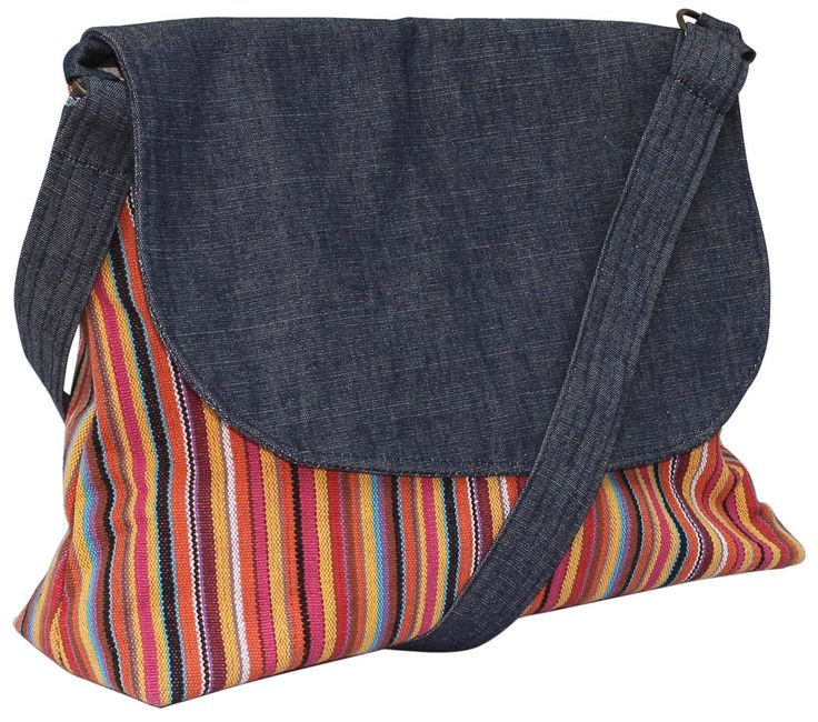 #Wholesale #Handmade #Flap #Handbag / #Purse with #Colorful #Striped #Pattern – #Crafted in #Denim & #Canvas #Material – #Adorned with a #Shoulderbag Strap – Everyday #Purses for #Teens / #Women from #India