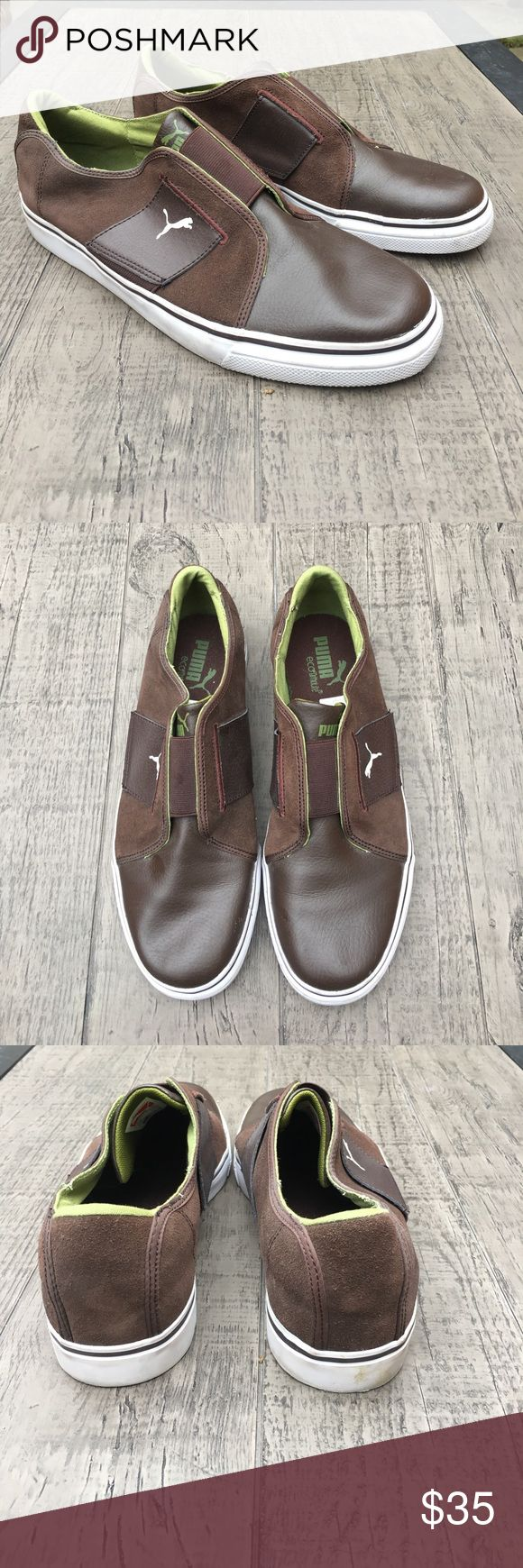 MENS Puma Brown Leather/Suede Sneakers MENS Puma Brown Leather/Suede Sneakers.  Eco Ortholite slip on sneaker with green interior. Barely worn. Size10 1/2 Puma Shoes Sneakers