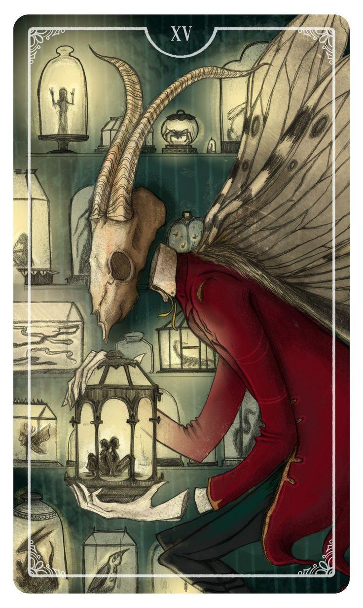 Tarot card for The Devil - XV. Illustration by Eden Cooke Ostara Tarot