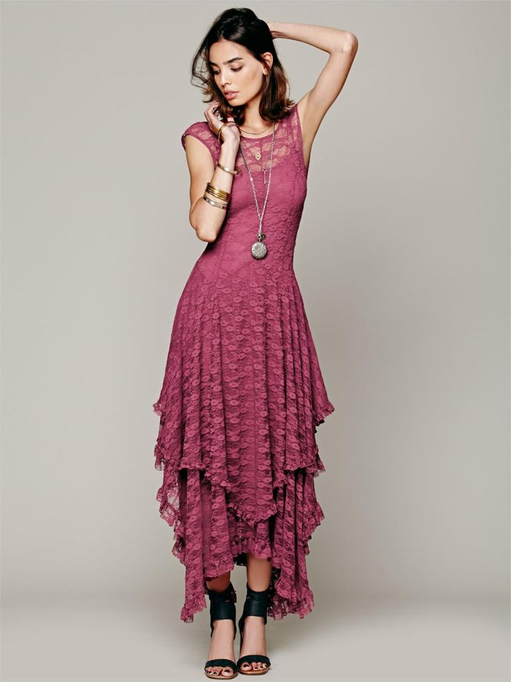 Boho Chic hippie Style Asymmetrical Embroidery Sheer lace dresses