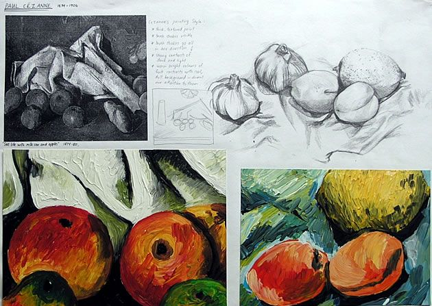 This sketchbook page shows how an artist model is analysed, with imitations of technique leading to original works in this same style.