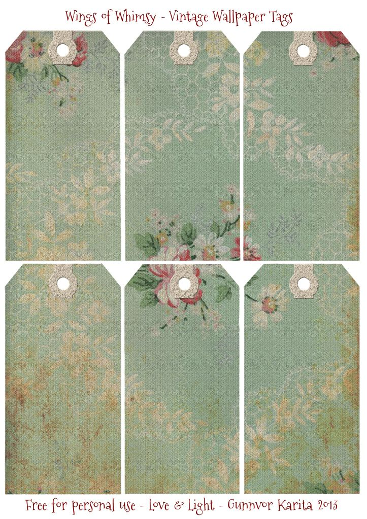Wings of Whimsy: Vintage Wallpaper Gift Tags - free for personal use #vintage #victorian #tags