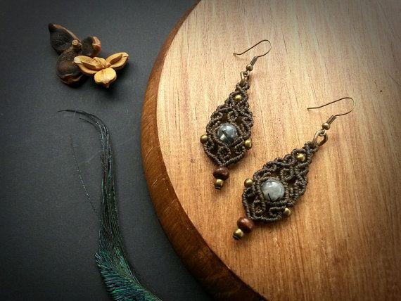 Prehnite macrame earrings. Bohemian jewelry by EarthBoundMacrame