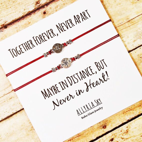"""Compass Friendship Bracelet Set with """"Together Forever"""" Card 
