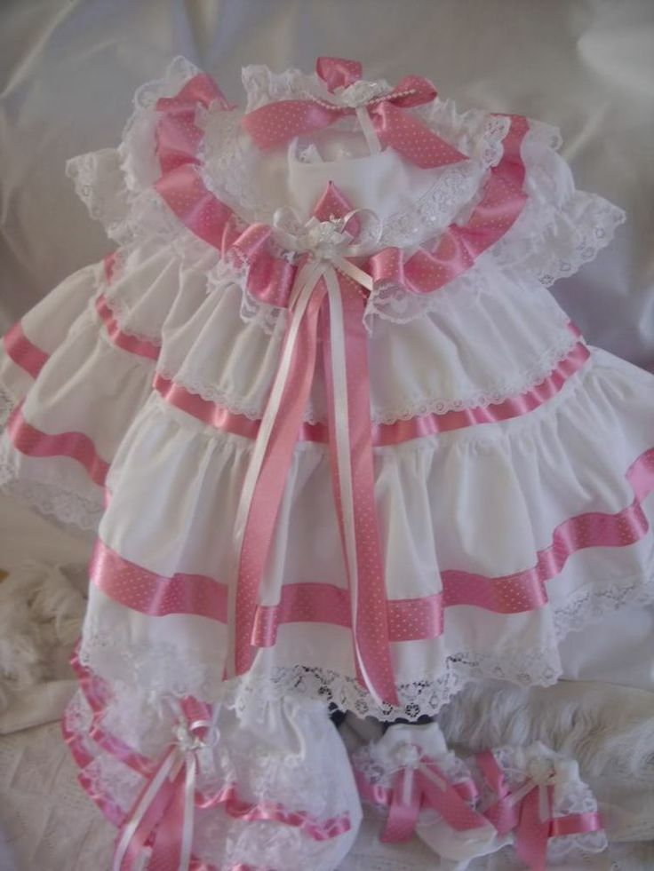 """DREAM 0-3 months ROMANY BABY GIRL DRESS HBD 20-24"""" REBORNSara, this is a beautiful dress, panties and socks. Check it out...love mom"""
