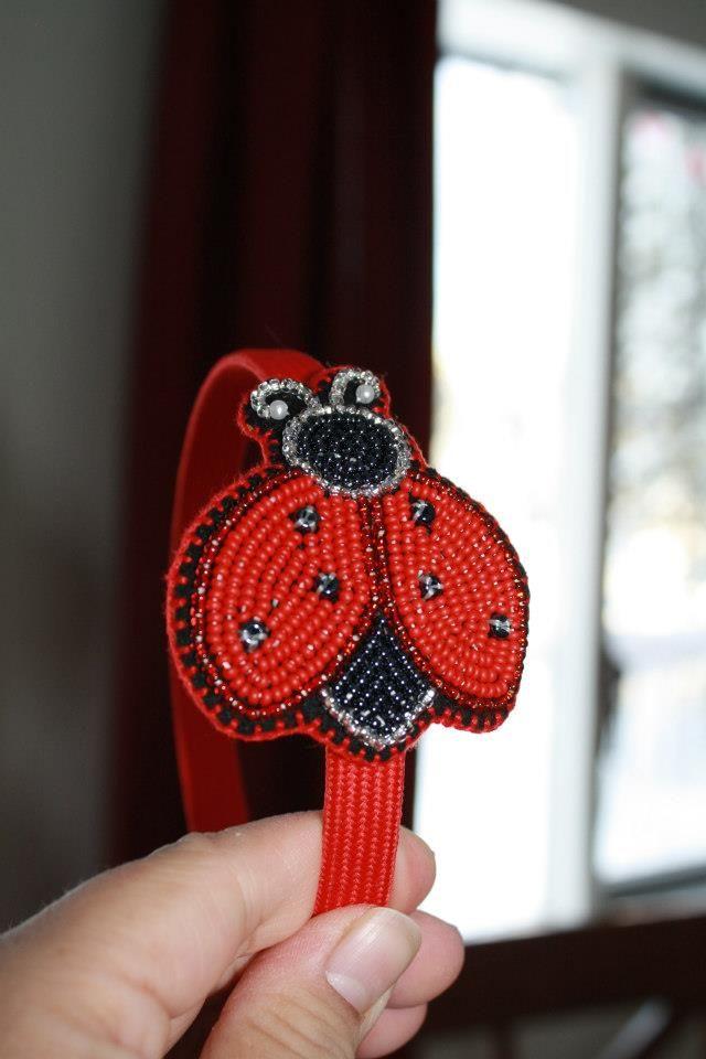 Beaded Ladybug headband