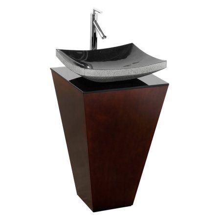 Wyndham Collection Esprit 20 inch Pedestal Bathroom Vanity in Espresso, Smoke Glass Countertop, Altair Black Granite Sink, and 20 inch Mirror