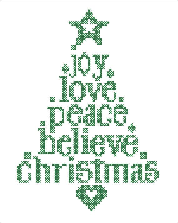 #43 BOGO FREE! Merry Christmas - Christmas Tree Joy Love Believe Peace Cross Stitch Pattern - pdf pattern instant download For your consideration is a beautiful counted cross stitch pattern/chart as shown in the picture.  Pattern Details: This pattern is in PDF format and consists of a floss list, and a color symbol chart. A small sample of the color symbol chart is shown in the last photo. General instructions on how to make the item as shown are also provided. This listing is for a…