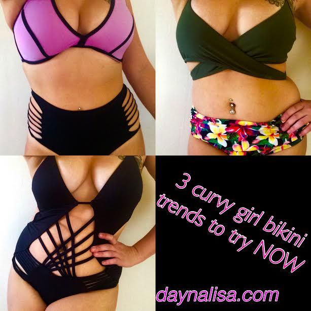 High waisted curvy girl bikini trends to try this summer! Shop these looks www.daynalisa.com/fashion curvy bikini monokini trend summer fashion