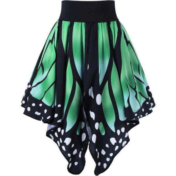 Butterfly Shape High Waist Skirt ($13) ❤ liked on Polyvore featuring skirts, high-waisted skirts, green skirt, high rise skirts, butterfly print skirt and high waisted knee length skirt