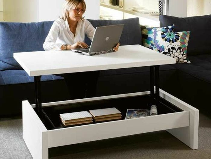 Les 25 meilleures id es de la cat gorie table basse relevable ikea sur pinterest table - Table de salon convertible ...