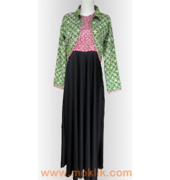 long dress batik kombinasi - batik cap