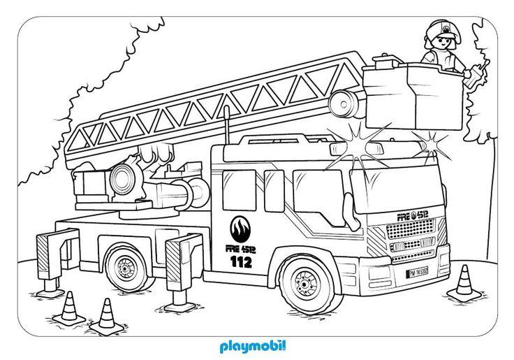 Cami n de bomberos playmobil para colorear en playmyplanet for Dormitorio para colorear