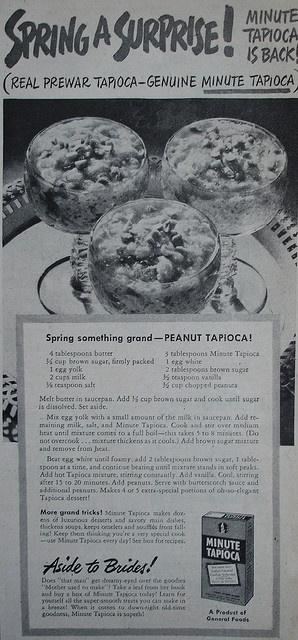 Minute Tapioca ad with Peanut Tapioca recipe    Country Gentleman - September 1948