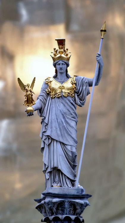 Athena is the Goddess of Wisdom Courage & Strength. She appears in the story of the Odyssey. She is completely loyal and protective of Odysseus and his family. Although a female, she is seen as a strong god who should not be messed with. Athena is pictured in this strong pose due to the fact that in all the stories she appears in, she is a strong warrior.