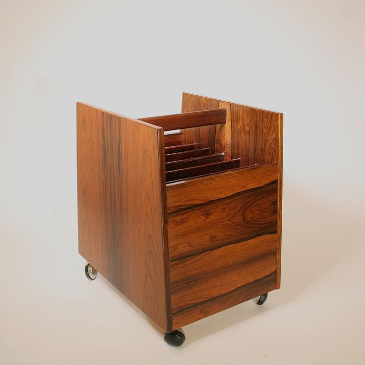 "Newspaper rack ""Scala"" in rosewood designed by Rolf Hesland for Bruksbo Tegnekontor, Norway"