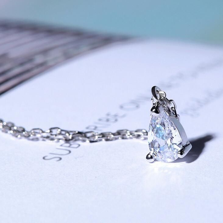 925 Sterling Silver Water Drop Diamond Necklace