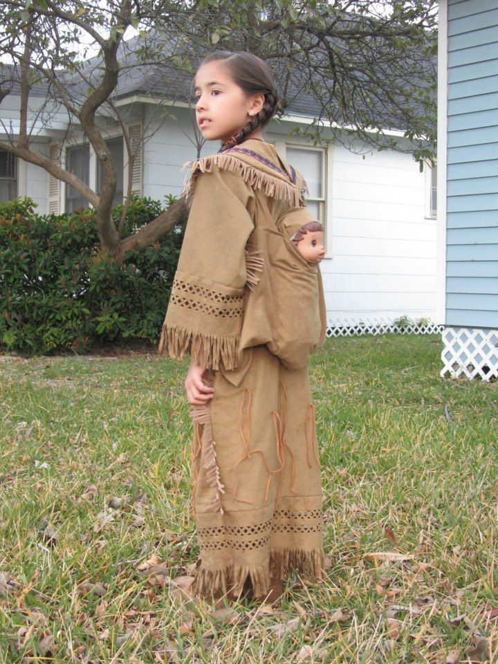 Sacagawea carried her baby with her, so we used her Baby Alive doll and made a little papoose for it. I tried to make her costume as close to what the real Sacagawea would have worn.