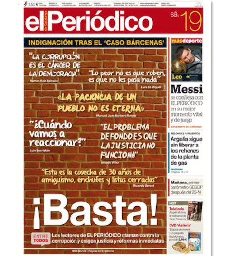 portadas el periodico de cataluña. Indignación por casos de corrupción