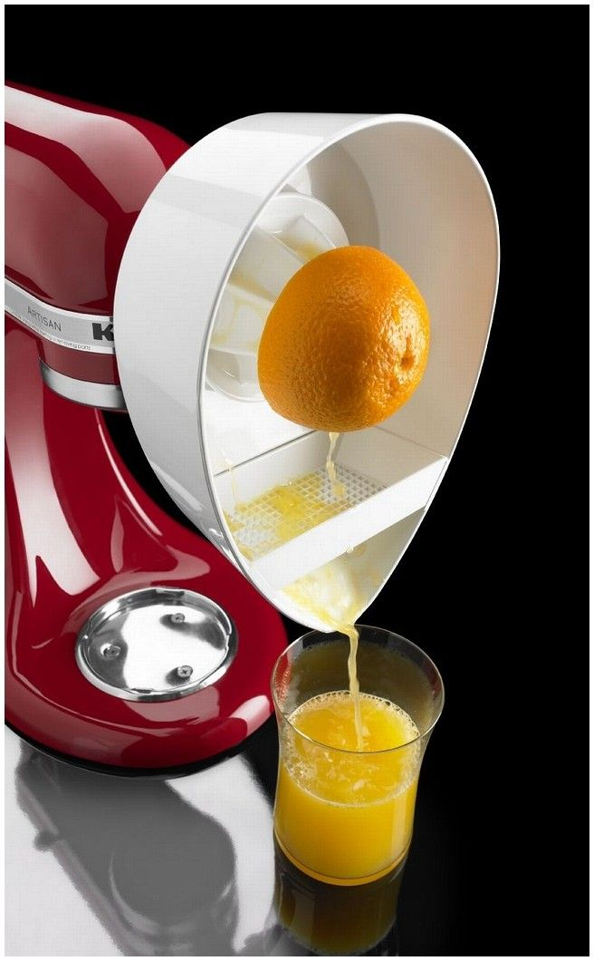 The Kitchenaid Citrus Juicer Attachment fits directly on the front of the Kitchenaid stand mixer and can be used to juice oranges, grapefruits, and most any other citrus fruit. $24.99