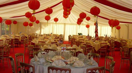 Top Hat Marquees - Chinese Themed - Helping your stylish wedding, party or event in Hertfordshire, Bedfordshire or Buckinghamshire run smoothly