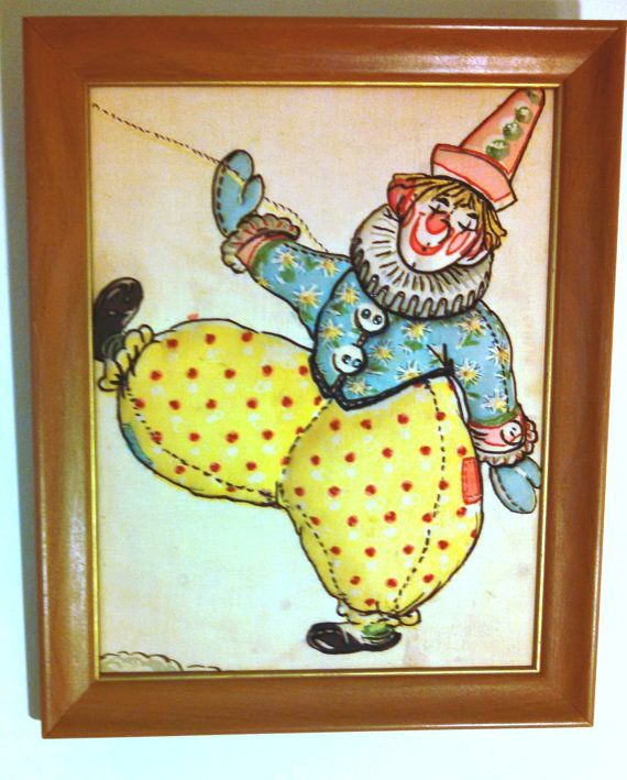 1950's Quilted, Embellished Clown. Framed.