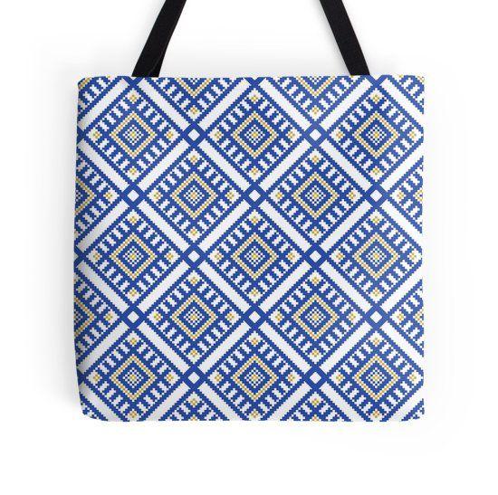 Traditional Blue-Yellow Geometric Pattern