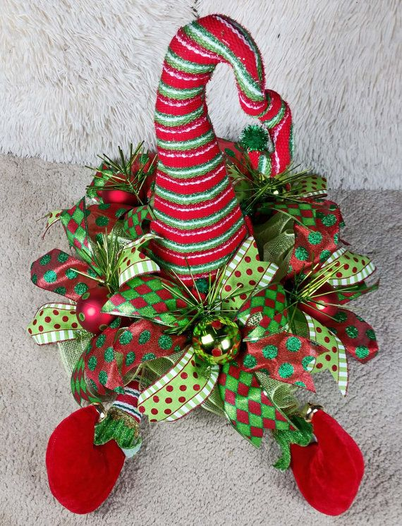 Elf hat and feet whimsical centerpiece deco mesh