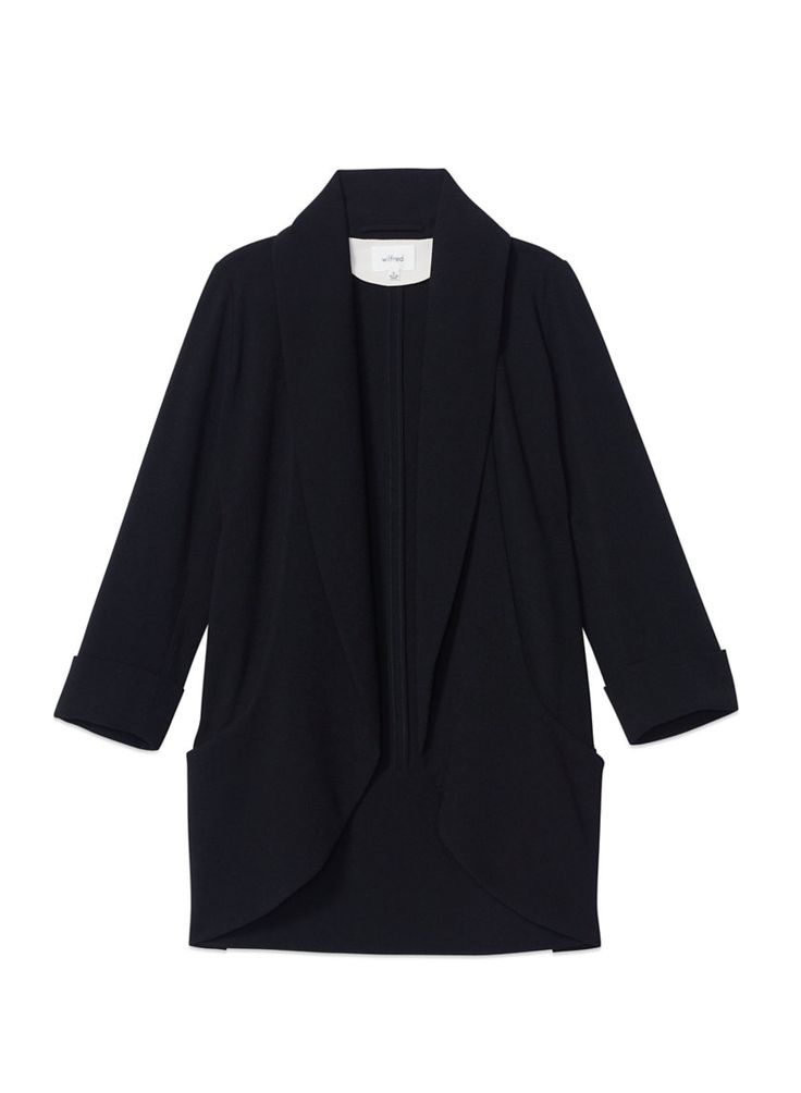 WILFRED CHEVALIER JACKET - Tuxedo-inspired tailoring with a feminine fit and luxurious drape in grey haven blue size 6