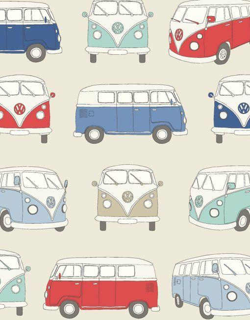 VW Campervan Fabric Blue - Main - 103806