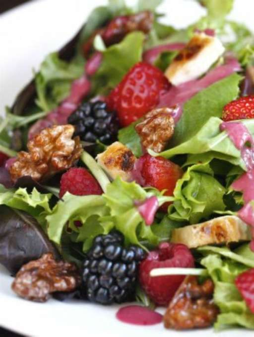 Wild Berry and Grilled Chicken Salad with Candied Walnuts - The Hopeless Housewife®