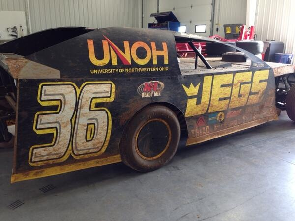 The Team JEGS dirt modified after the racing weekend - twitter pic by Kenny Wallace.