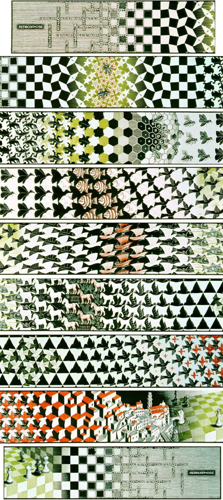 Escher's metamorphosis. This theme of aglorithmtically transforming a tiling is particular type of algorithmic mathematical art.