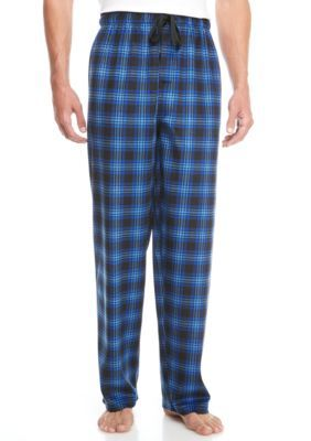 Izod Men's Big & Tall Blue/Black Fleece Pants - Oxford - 3Xlt