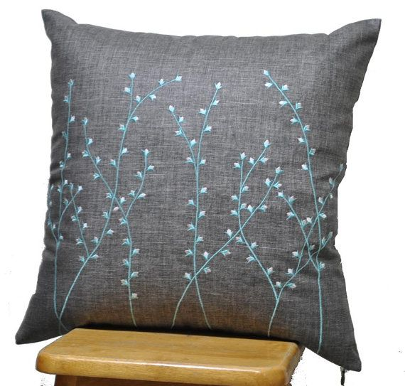 $24 option for bergere Blue Grey Pillow Cover, Decorative Throw Pillow Cover, Ash Grey Linen Pillow Blue Pussy Willow Embroidery, Pillow Case 18 x 18, Toss Pillow