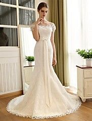 Mermaid+/+Trumpet+Off-the-shoulder+Chapel+Train+Lace+Satin+Wedding+Dress+with+Lace+Bow+by+Embroidered+bridal+–+AUD+$+619.48