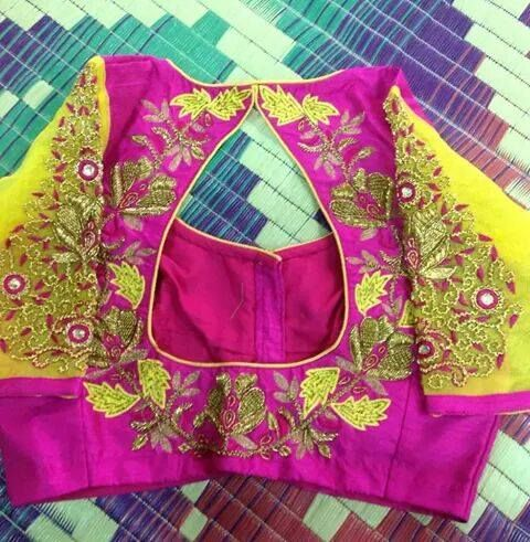 Elbow length blouse sleeves with embroidered back !