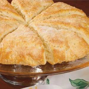 "Featherlight Scones Recipe- Recipes  ""Scones fit into just about every meal,"" assures Stephanie Moon, from Boise, Idaho.""This dough bakes up beautifully into fully golden wedges. We love the tender triangles with butter and cinnamon-sugar,"" she adds."