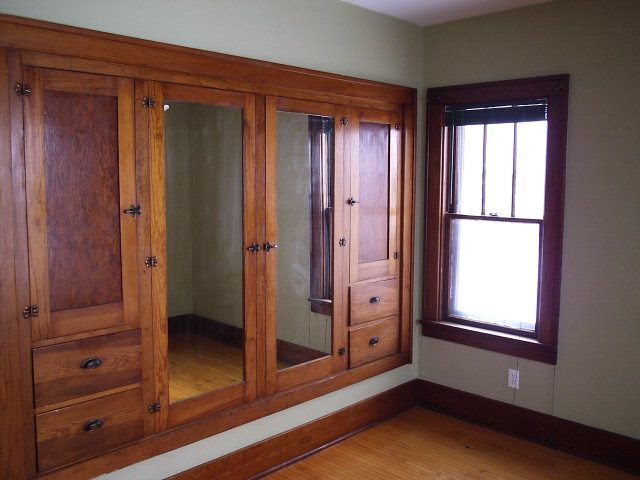 1932 Craftsman, Forestville, WI  Built in Closets...  Putting these between rooms would be good for noise,  too.