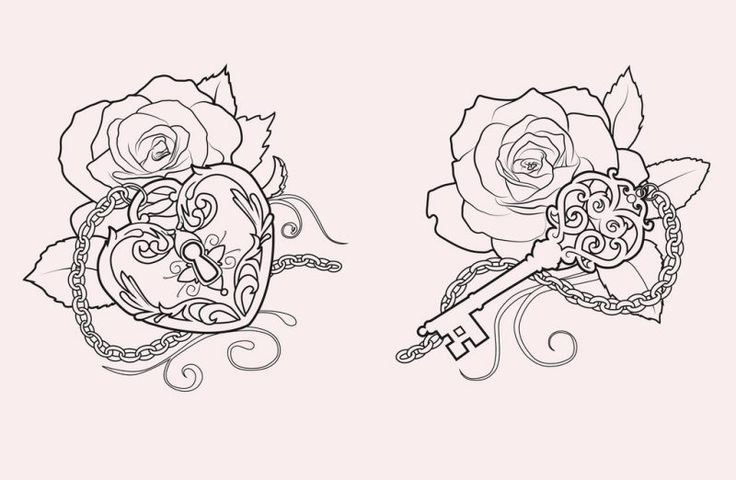 Tattoovorlagen kostenlos Schlüssel Rose