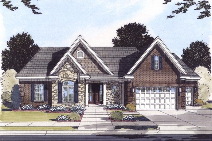 Plan 24178 3 bedroom 2 bath house plan with 2 car for Affordable one story house plans