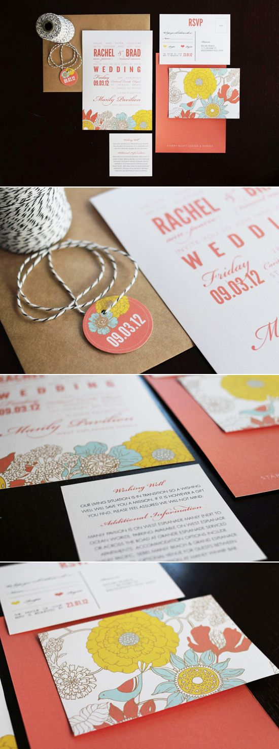 Love the colours of these invites. Coral Pink, Yellow and Eggshell Blue