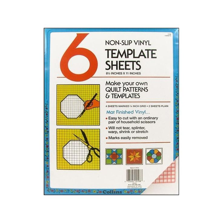 "Prym Collins Template Sheets 8.5x11"" Non Slip Vinyl 6pc"