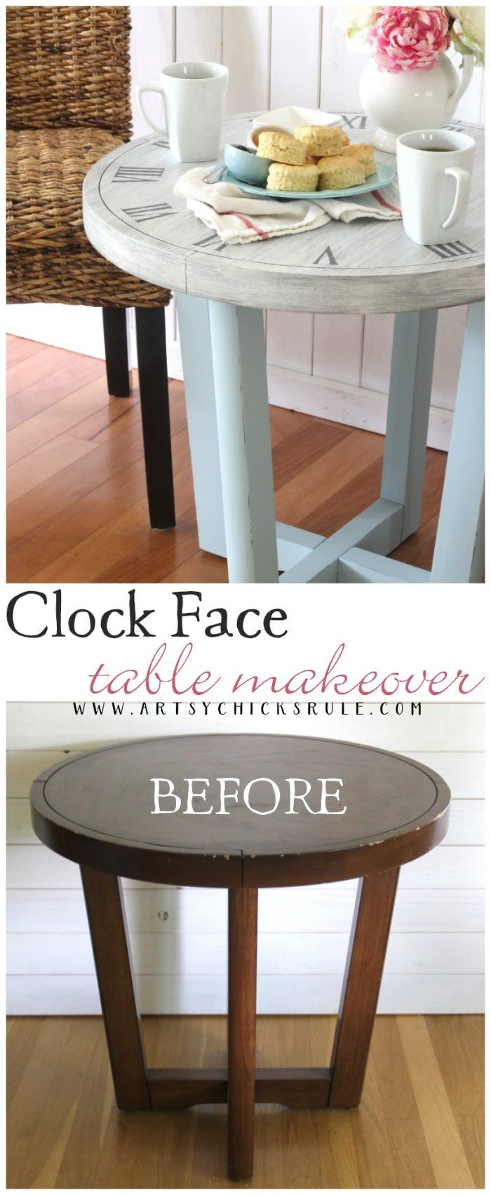 French Country Clock Face Table (free printable to make