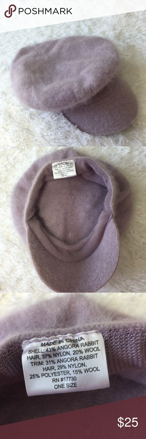 Rabbits fur lilac woman's visor beanie nwot Beautiful stylish beanie hat with visor.  New without Tag condition.  Lilac color  One size fits all. Bin#4 Accessories Hats
