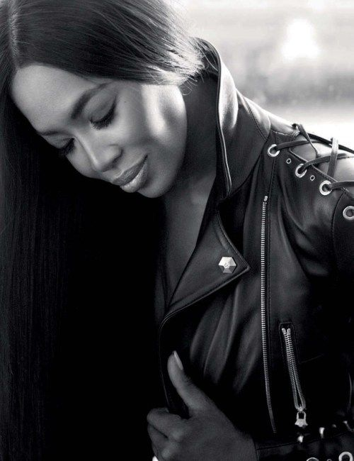 Naomi Campbell by Nico Bustos for GQ Germany Feb 2017      #Naomi Campbell #leather #leather jacket #black leather #B&W #laced leather jacket