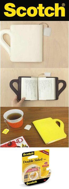 Mira que práctico y fácil es hacer un separador de libros con una la etiqueta de las bolsitas para te y mantén a la mano la cinta doble cara de Scotch.