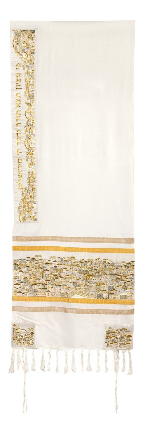 Tallit Set - Jerusalem in Gold - Tight Knit Embroidery