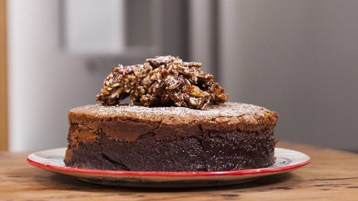 Flourless Chocolate Cake with Chilli Almonds